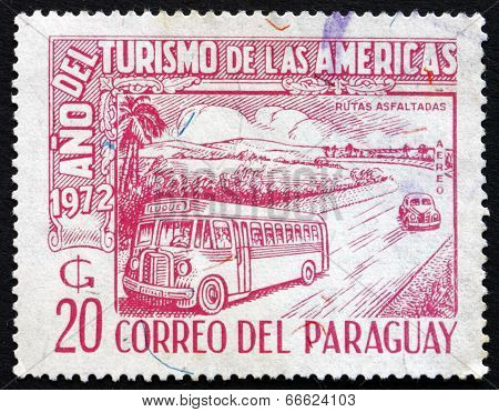 Postage Stamp Paraguay 1972 Bus And Car On Highway
