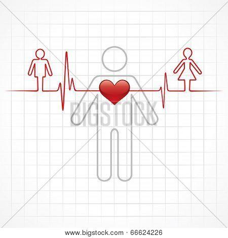 Heartbeat make a male and female symbol