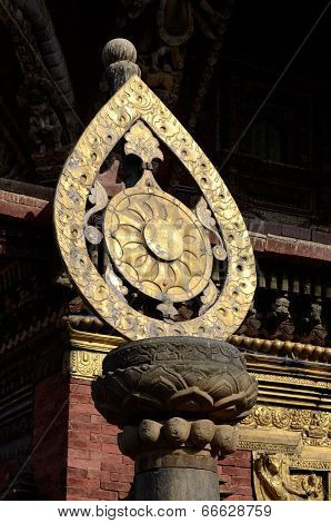 Architectural Detail Of Buddhist Monastery -  Dharma Wheel Or Wheel Of Life,one Of 8 Buddhist Symbol