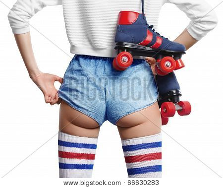 woman with roller skates on her shoulder shift her shorts poster