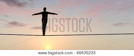 Conceptual concept of 3D businessman or man silhouette in crisis walking in balance on rope over sunset sky background banner