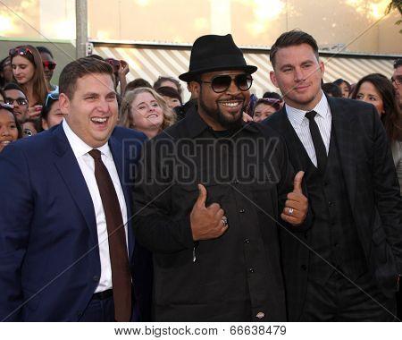 LOS ANGELES - JUN 10:  Jonah Hill, Ice Cube, Channing Tatum at the
