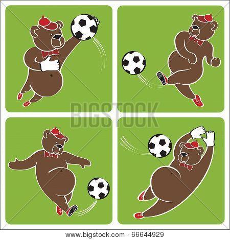 Brown Bear Plays Football.cartoon Vector Humorous Illustration Set