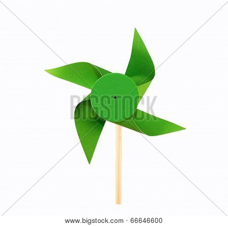small green windmill made of paper and wood poster