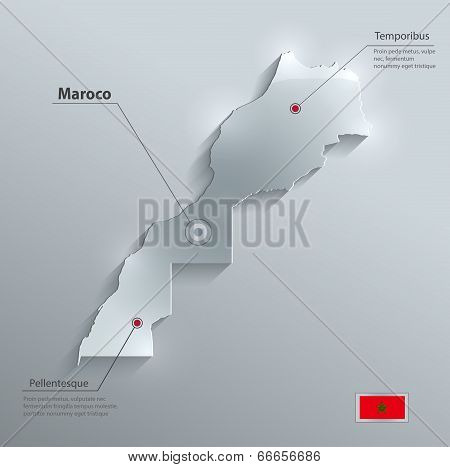 Maroco map flag glass card paper 3D vector
