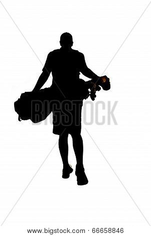 Silhouette Of Young Golfer Walking Away With Golfbag