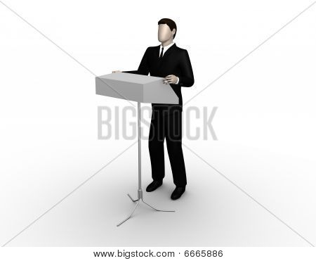 Businessman delivers a speech at a tribune