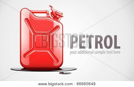 Red fuel canister for petrol in black oil drop. Eps10 vector illustration.