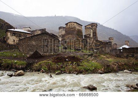 Village Ushguli In Upper Svaneti In Georgia