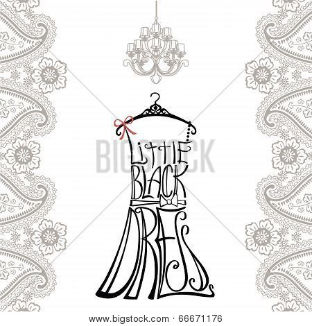 Silhouette Of Woman Dress From Words With Paisley Border