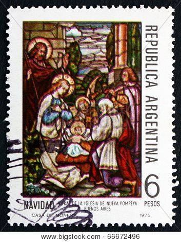 Postage Stamp Argentina 1975 Nativity, Nueva Pompeya Church, Christmas