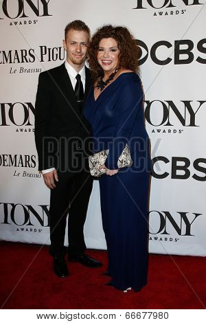 NEW YORK-JUNE 8: Actress Mary Bridge Davies (R) and guest attend American Theatre Wing's 68th Annual Tony Awards at Radio City Music Hall on June 8, 2014 in New York City.