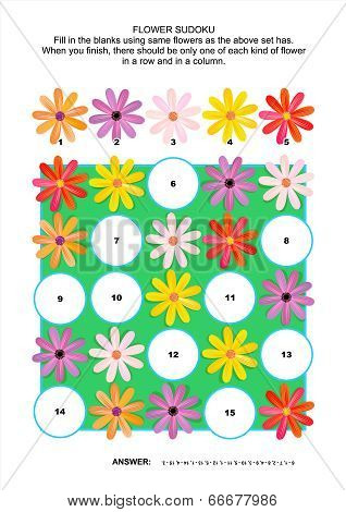 Picture sudoku puzzle with gerbera daisy flowers