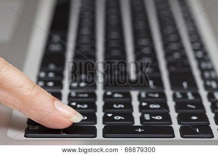 Woman Pressing Enter Key