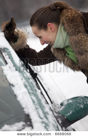 Woman Talking With Car Driver