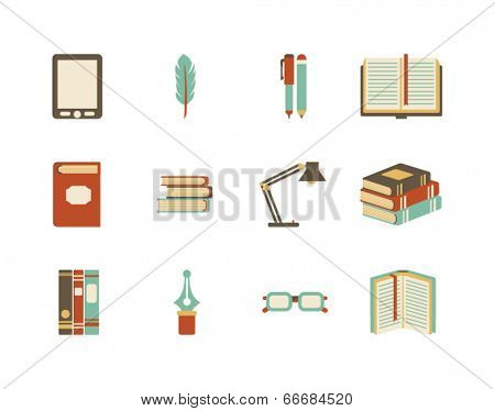 collection of vector books icons