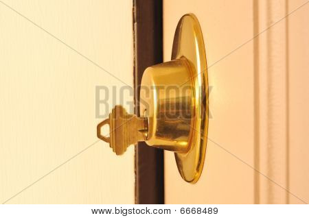 Key In A Dead Bolt Lock