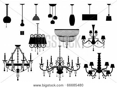 Sets of silhouette Chandelier and lamp