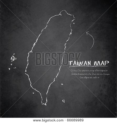 Taiwan map blackboard chalkboard vector
