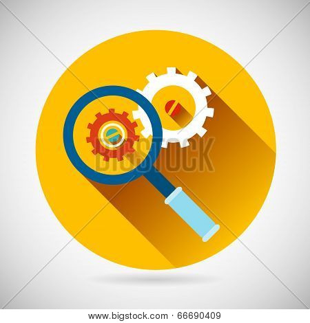 Troubleshooting Symbol Magnifying Glass and Gears Icon on Stylish Background Modern Flat Design Vect