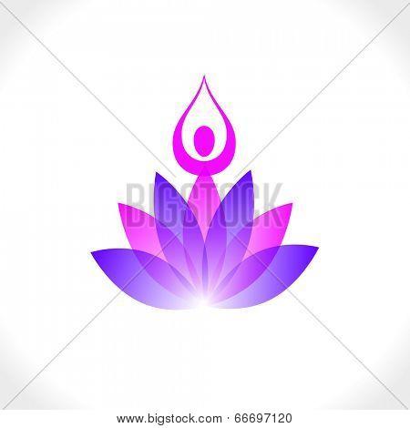 Lotus and yoga meditation. Vector sign