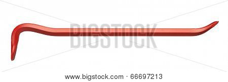 red crowbar isolated on white