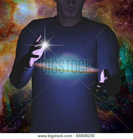 Man holds galaxy between his hands Elements of this image furnished by NASA'