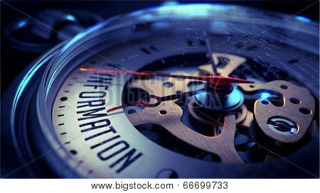 Information on Pocket Watch Face with Close View of Watch Mechanism. Time Concept. Vintage Effect. poster