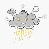 Grey cloud in Anger, showing electric lightning, raindrops and stormy cloud. Bad Weather Concept.  poster