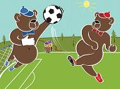 Two brown bears plays football .The goalkeeper and striker playing in the woods on the football field.Cartoon vector humorous illustration poster