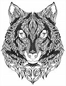 psychedelic Wolf head Tattoo. Vector illustration. isolated on white poster