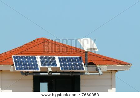 Solar panels installed on small roof