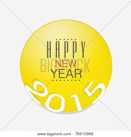 Happy New Year 2015 sticker, tag or label with stylish text on white background.