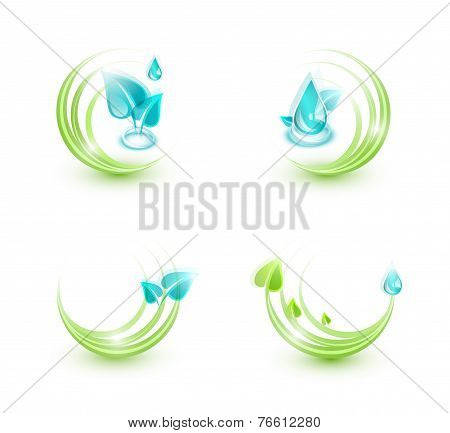 Set of four ecological icons