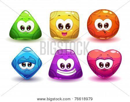 Cute geometric jelly characters