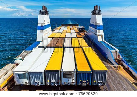 Cargo ferry commercial industrial ship with truck freight containers in the sea poster