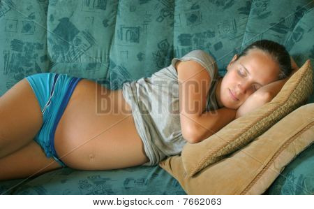 Young Pregnant Woman Sleep