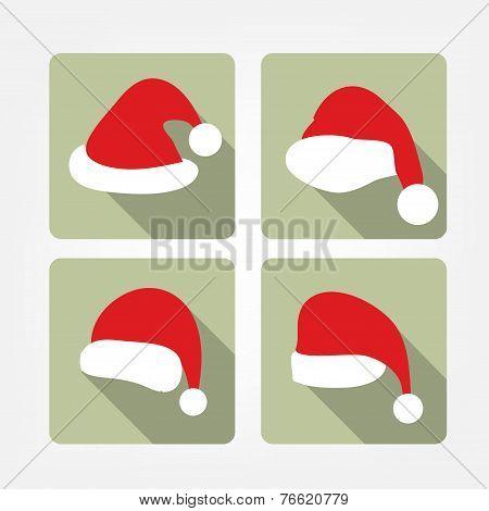 Santa hat flat icons