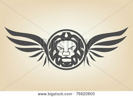 Lion head with wings