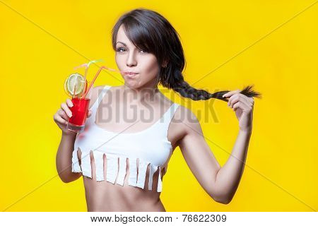 Girl Drinks Cocktail.