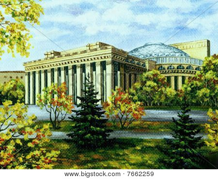 Opera And Ballet Theatre, Novosibirsk, In Autumn