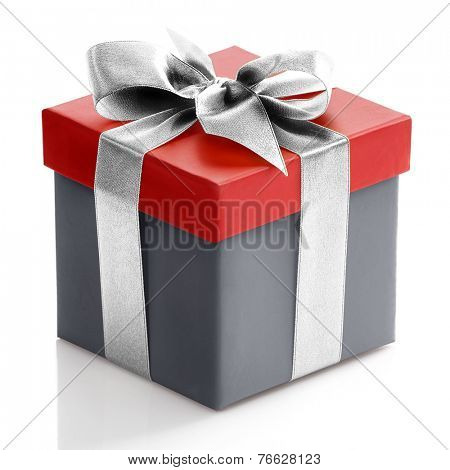 Single red and grey gift box with sliver ribbon on white background.