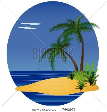 Tropical background with palm-trees and ocean