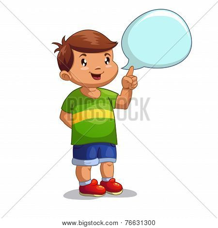 Cute cartoon boy with speech bubble