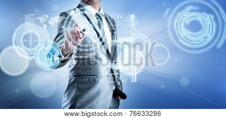 Business Man In Blue Grey Suit Using Digital Pen Working With Digital Virtual Screen Business Concep