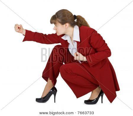 Young Woman Strikes At Hand