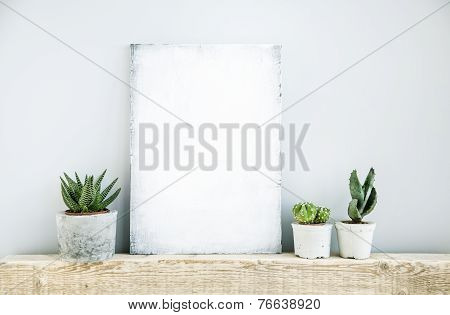 Scandinavian Or American Style Room Interior With Board For Text