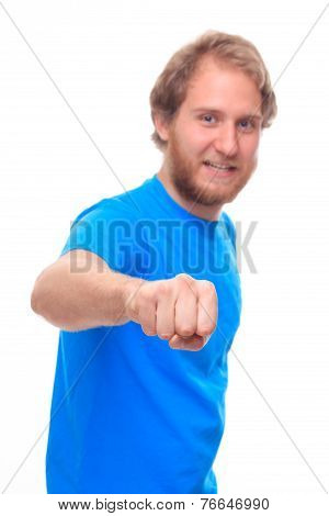 Bearded man doing fist bump - studio shoot poster