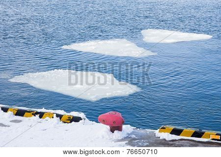 Breaking Spring Ice Floe Of Japanese Sea