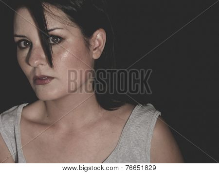 victim, vulnerable woman concept of psychological abuse, beautiful young brunette